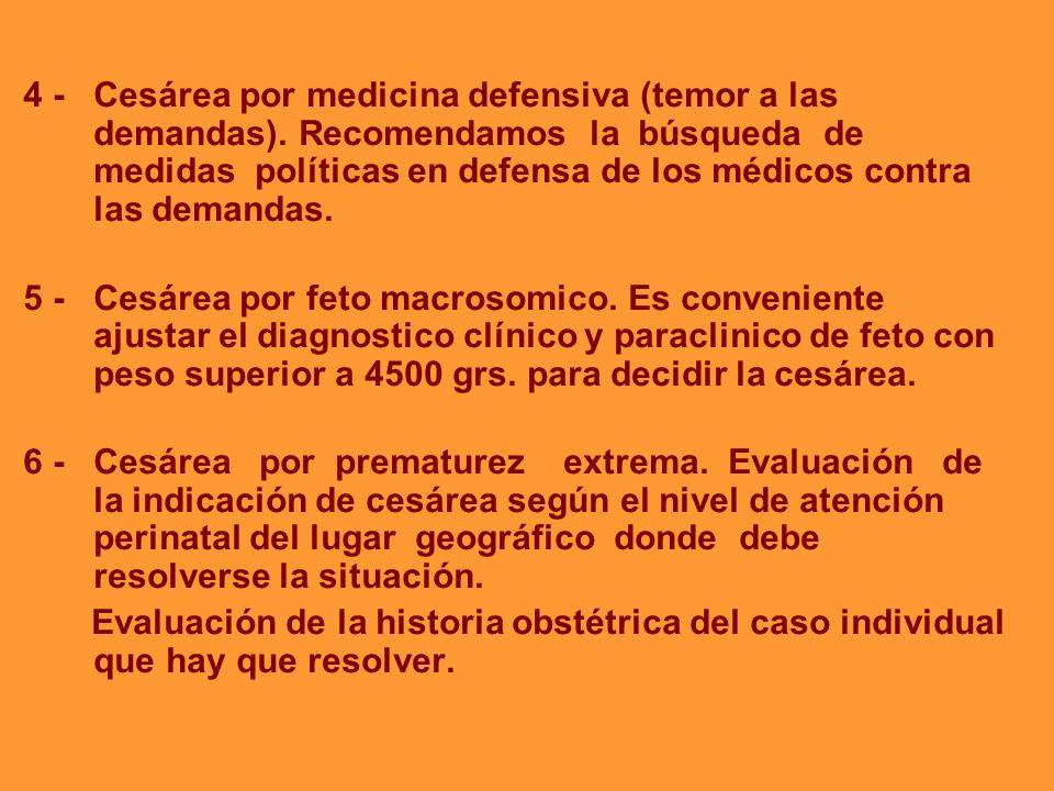 4 - Cesárea por medicina defensiva (temor a las demandas)