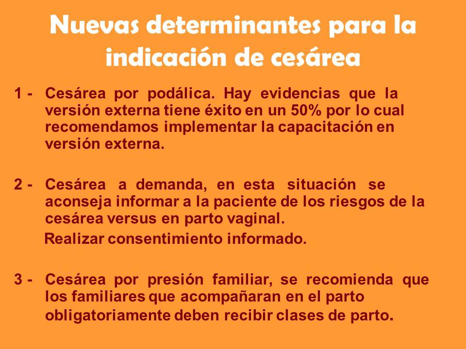 Nuevas determinantes para la indicación de cesárea