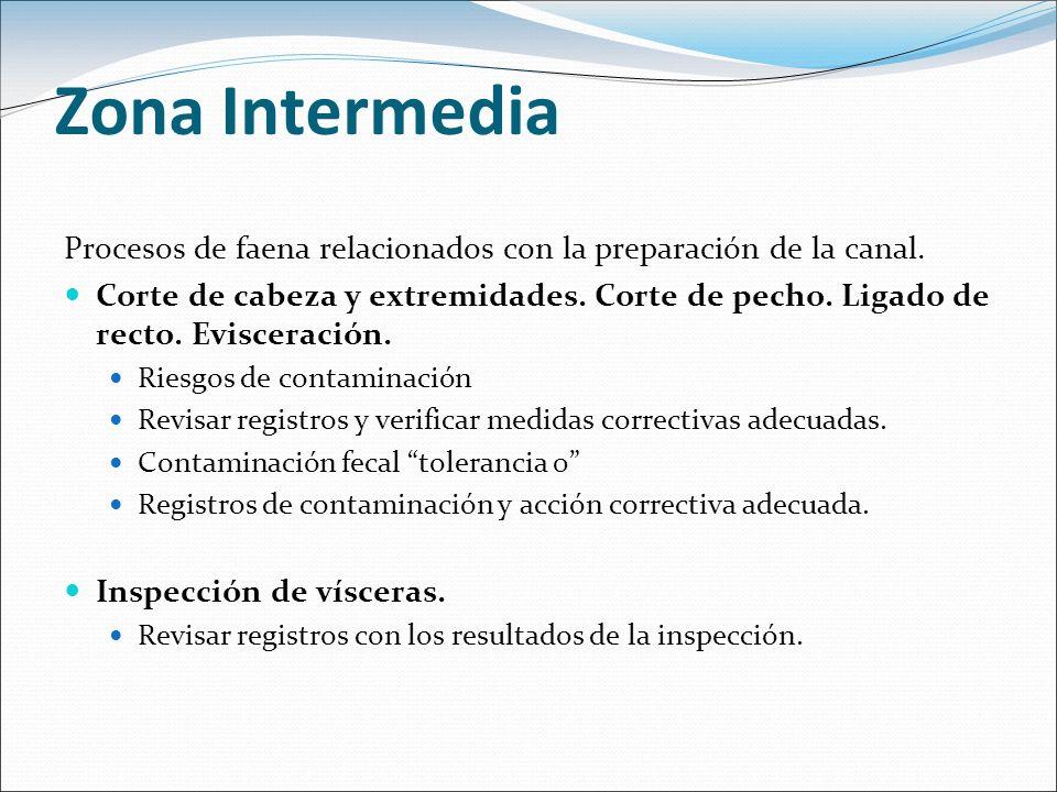 Zona Intermedia Procesos de faena relacionados con la preparación de la canal.