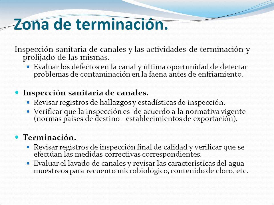 Zona de terminación. Inspección sanitaria de canales y las actividades de terminación y prolijado de las mismas.