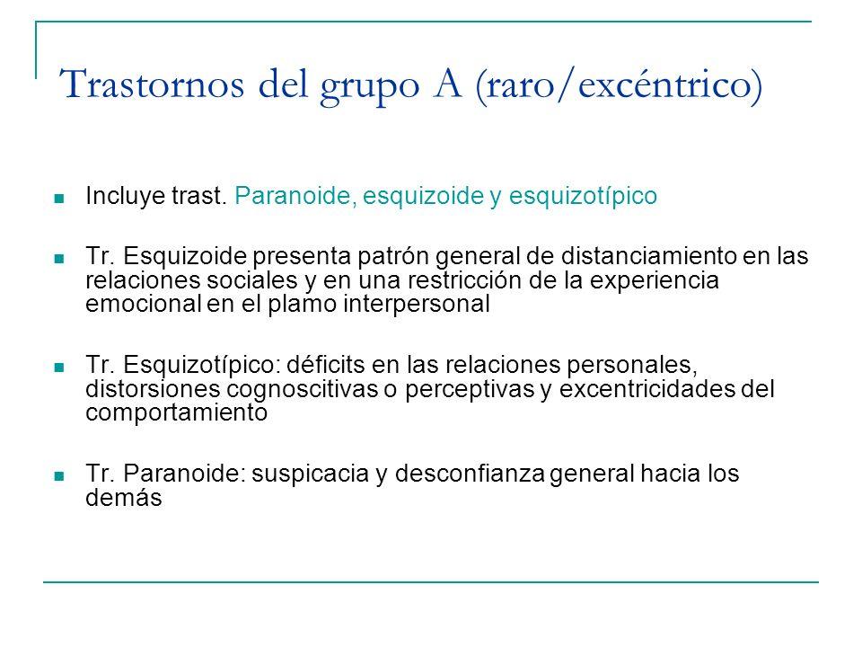 Trastornos del grupo A (raro/excéntrico)