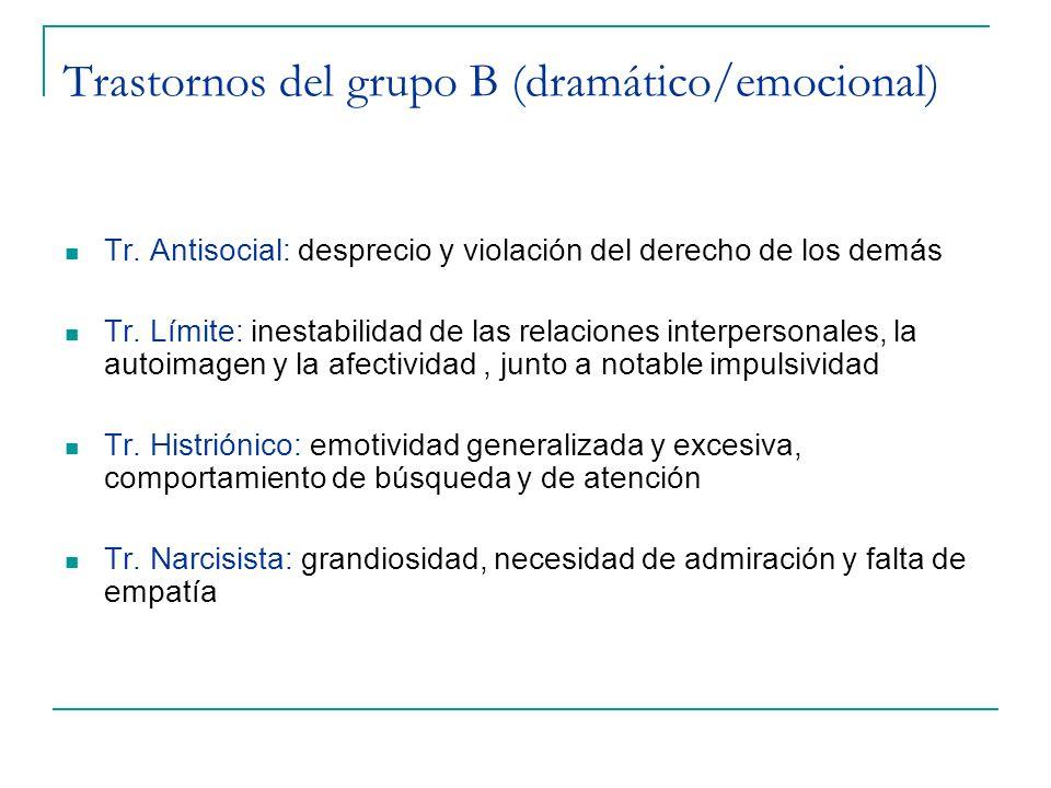 Trastornos del grupo B (dramático/emocional)