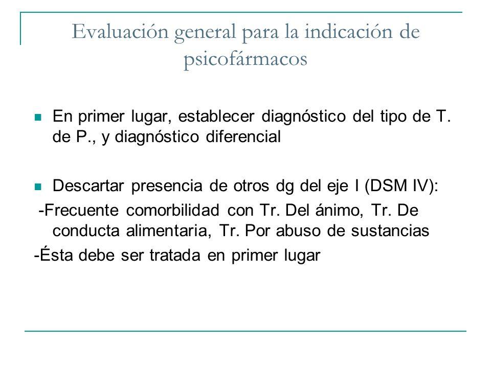 Evaluación general para la indicación de psicofármacos