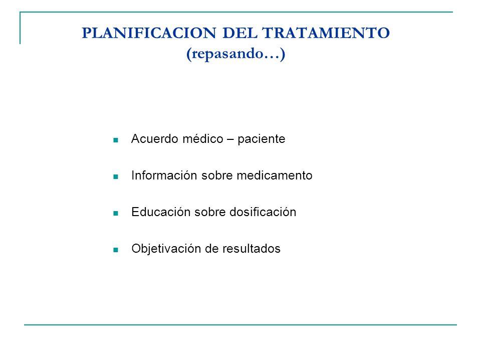 PLANIFICACION DEL TRATAMIENTO (repasando…)