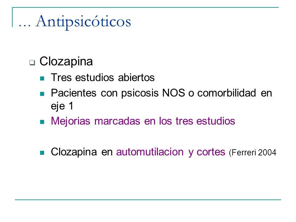 … Antipsicóticos Clozapina Tres estudios abiertos