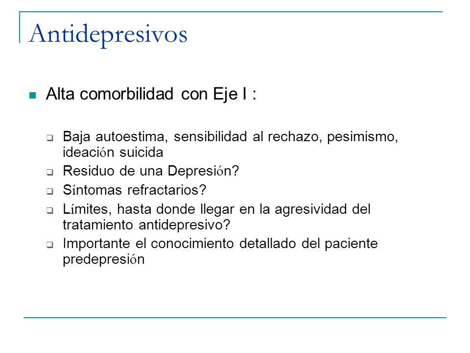 Antidepresivos Alta comorbilidad con Eje I :