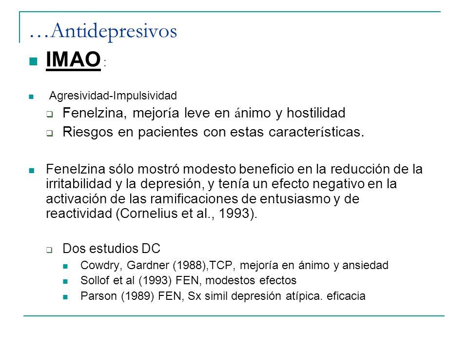 …Antidepresivos IMAO : Fenelzina, mejoría leve en ánimo y hostilidad