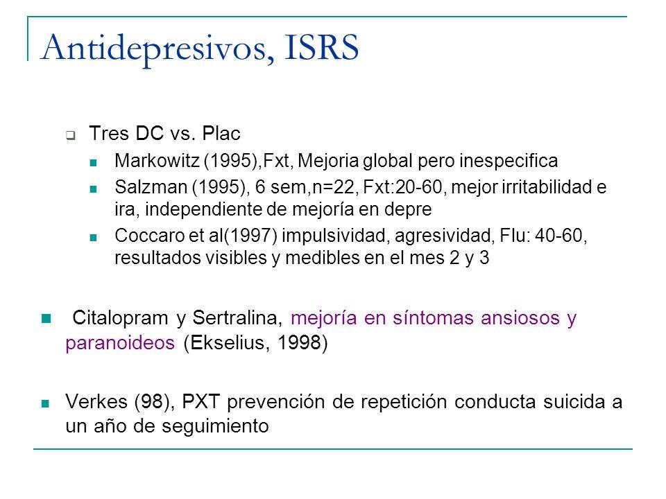 Antidepresivos, ISRS Tres DC vs. Plac. Markowitz (1995),Fxt, Mejoria global pero inespecifica.