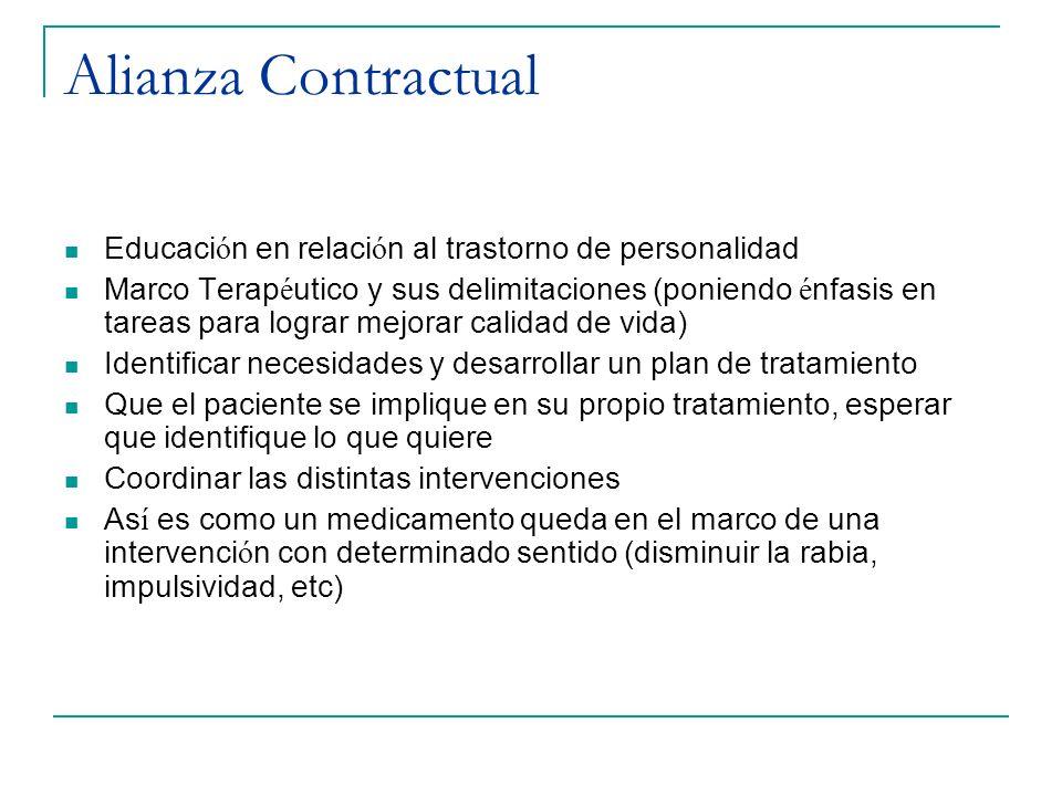 Alianza Contractual Educación en relación al trastorno de personalidad