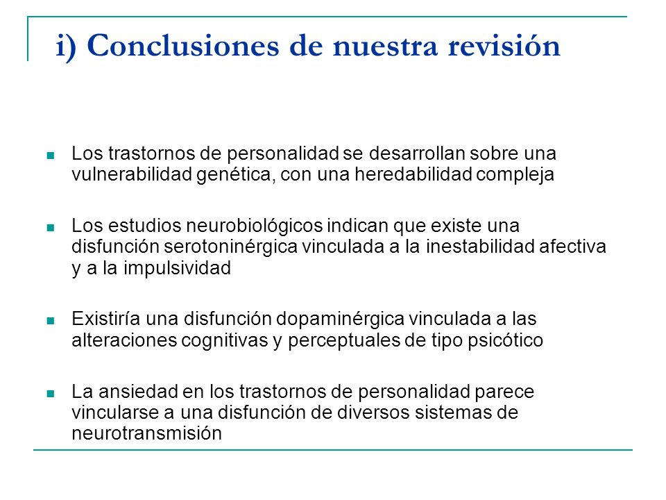 i) Conclusiones de nuestra revisión