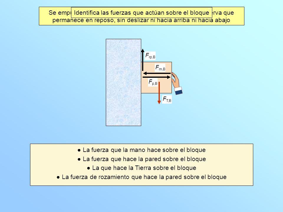 Identifica las fuerzas que actúan sobre el bloque