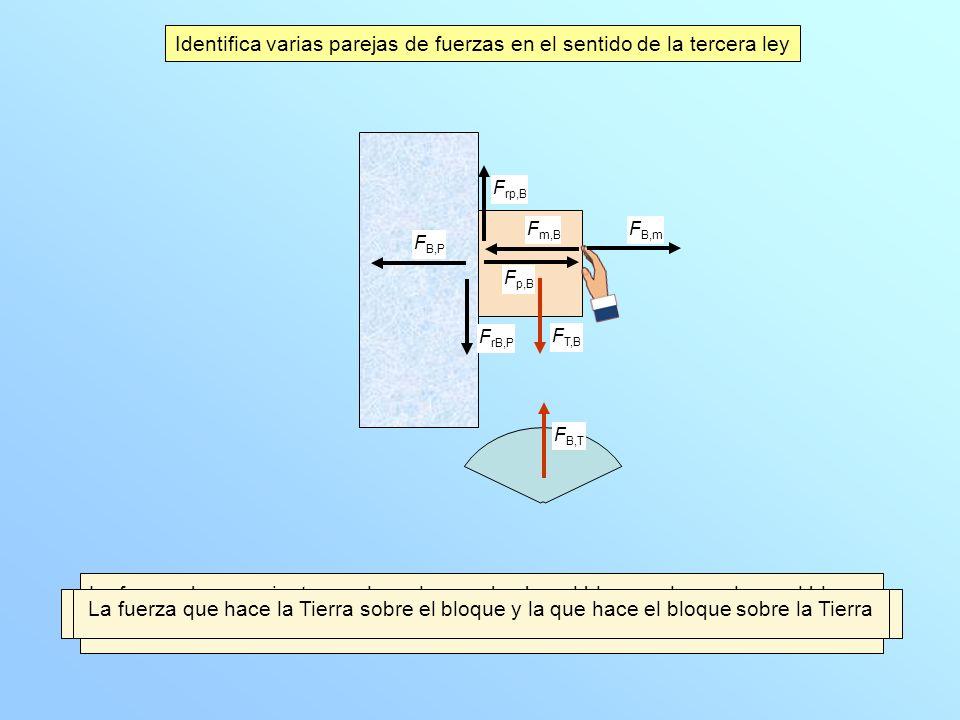 Identifica varias parejas de fuerzas en el sentido de la tercera ley
