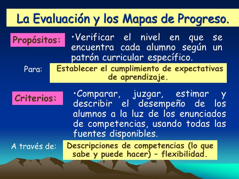 La Evaluación y los Mapas de Progreso.