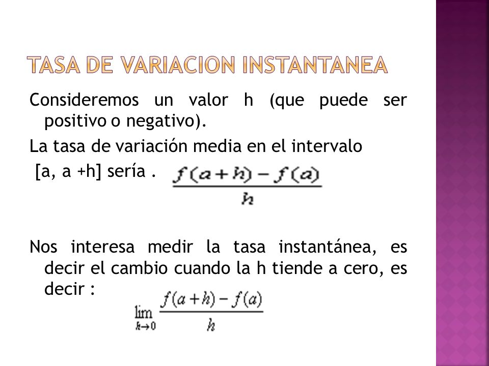 taSa de variacion instantanea