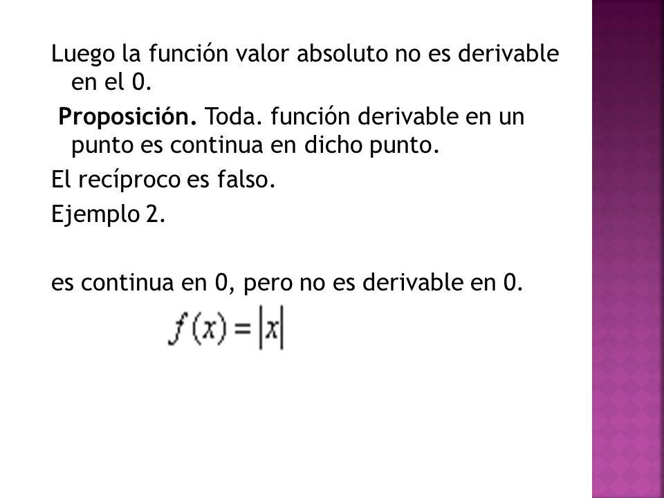 Luego la función valor absoluto no es derivable en el 0. Proposición