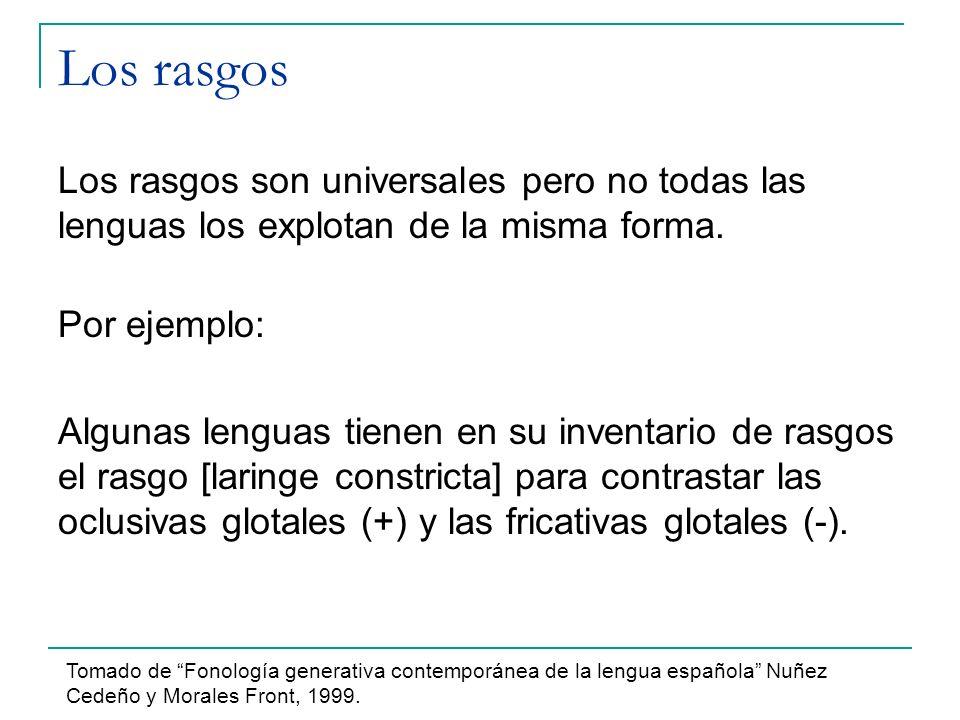 Los rasgos Los rasgos son universales pero no todas las lenguas los explotan de la misma forma. Por ejemplo: