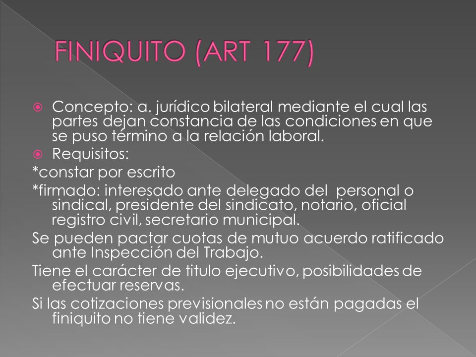 FINIQUITO (ART 177)