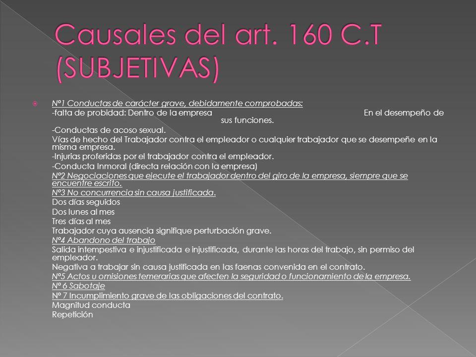 Causales del art. 160 C.T (SUBJETIVAS)