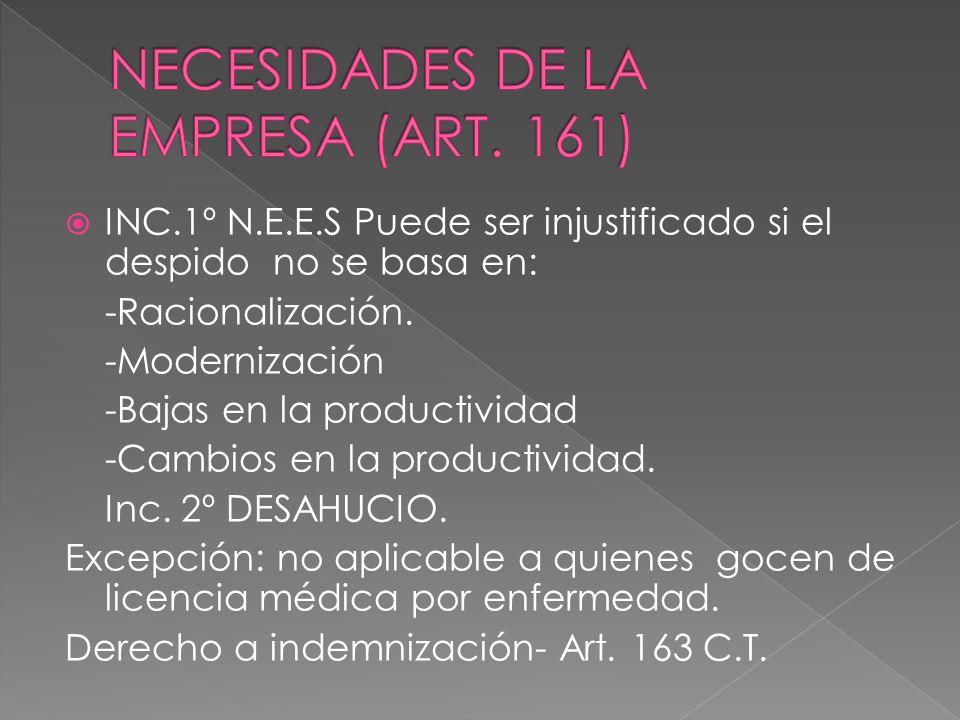 NECESIDADES DE LA EMPRESA (ART. 161)