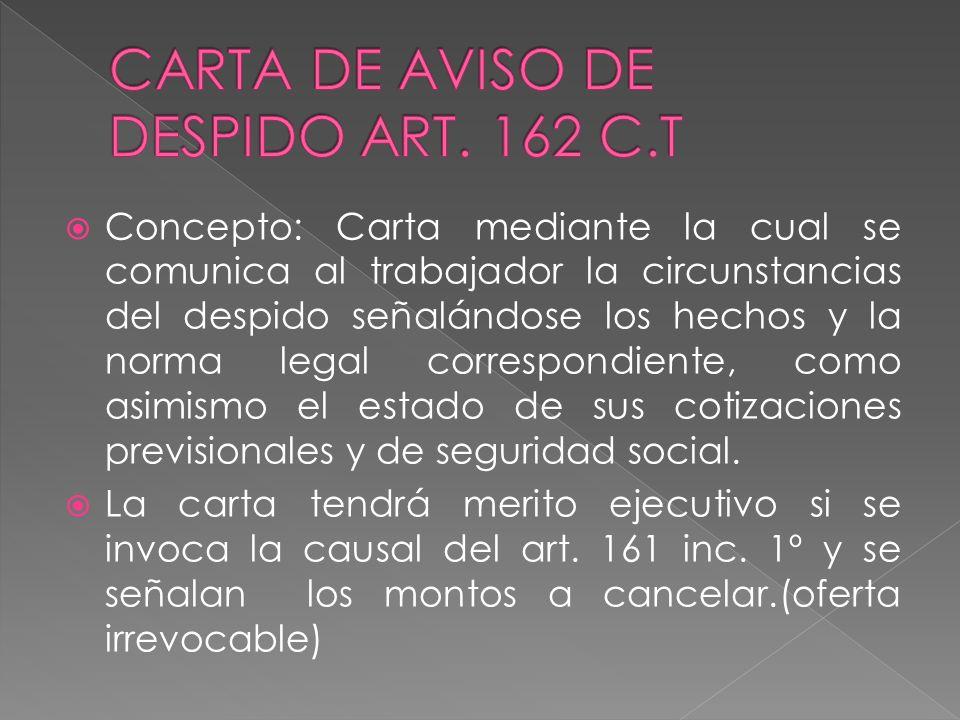 CARTA DE AVISO DE DESPIDO ART. 162 C.T