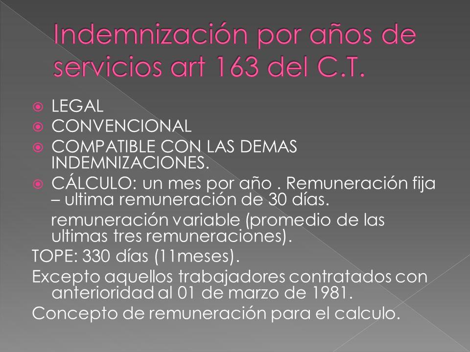 Indemnización por años de servicios art 163 del C.T.