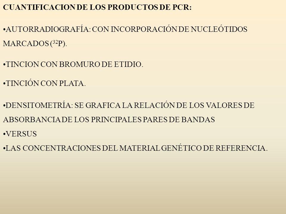 CUANTIFICACION DE LOS PRODUCTOS DE PCR: