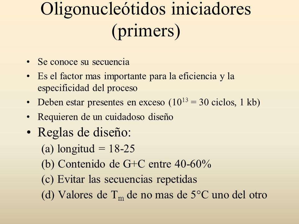 Oligonucleótidos iniciadores (primers)
