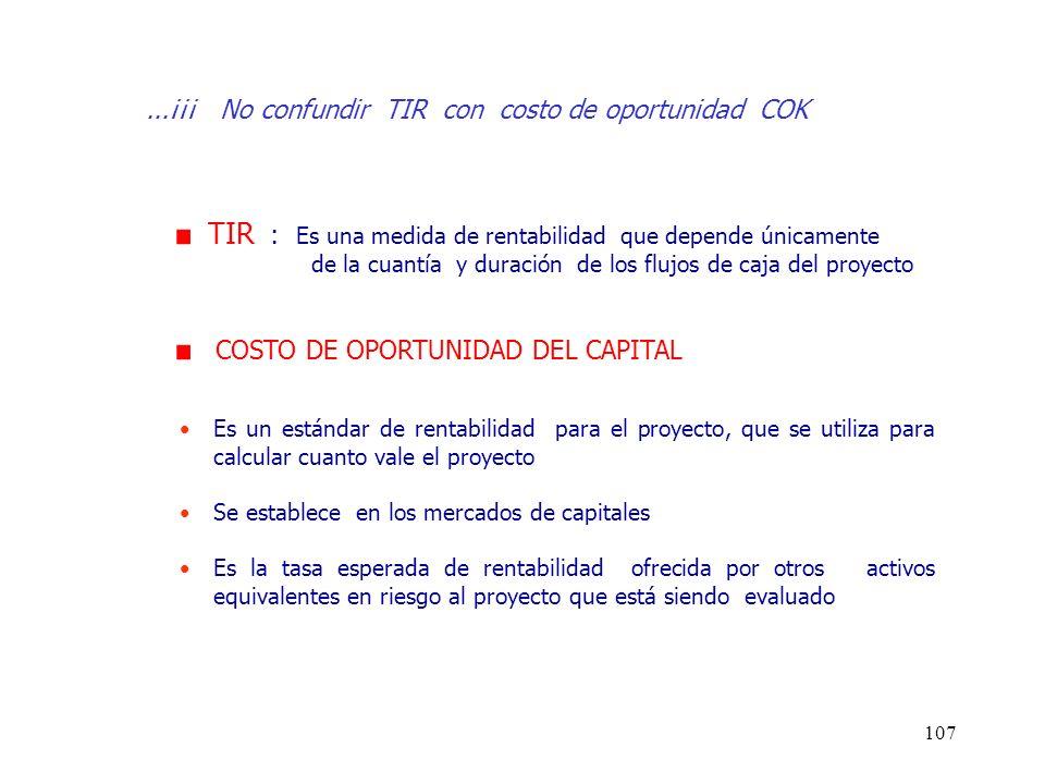 ...¡¡¡ No confundir TIR con costo de oportunidad COK