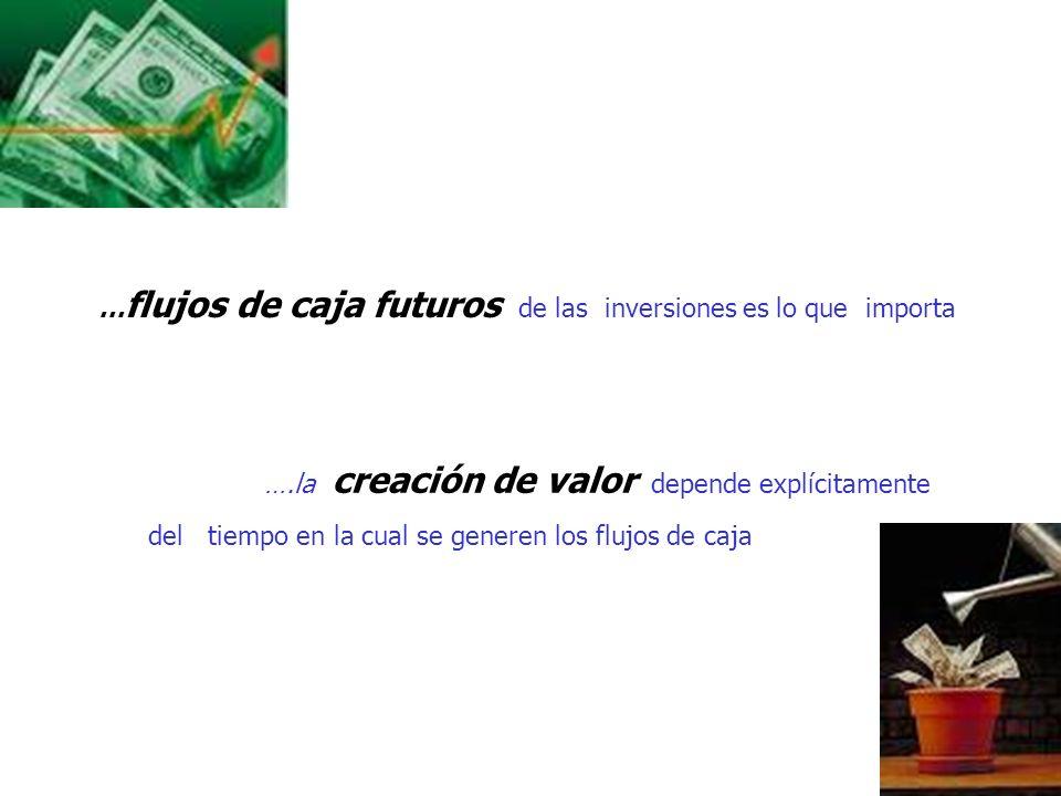 …flujos de caja futuros de las inversiones es lo que importa