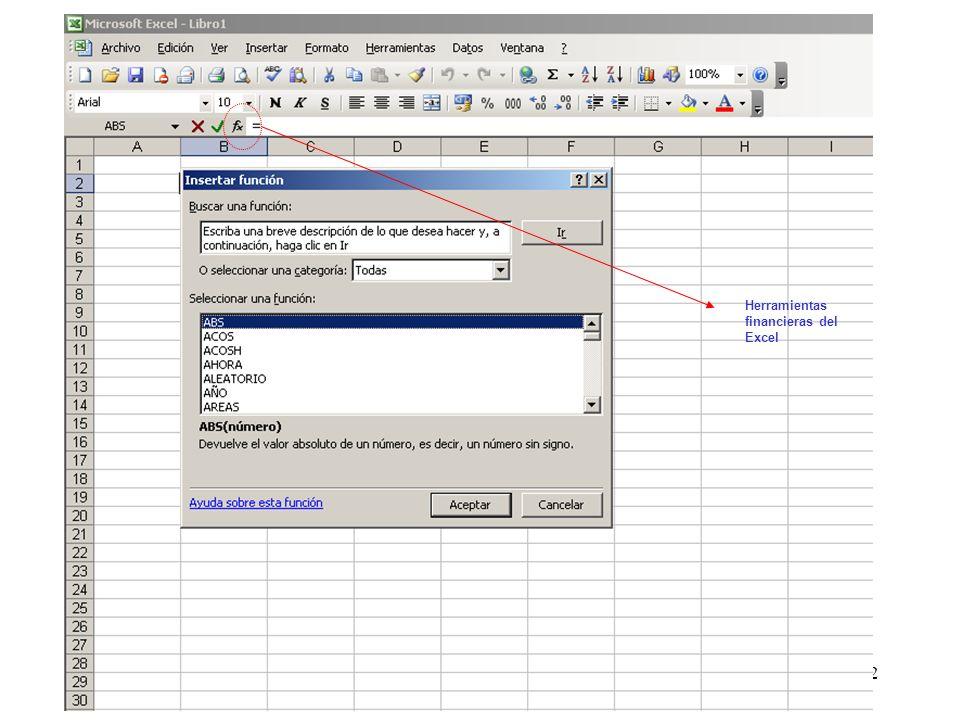 Herramientas financieras del Excel