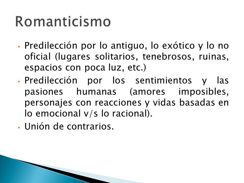 Romanticismo Predilección por lo antiguo, lo exótico y lo no oficial (lugares solitarios, tenebrosos, ruinas, espacios con poca luz, etc.)