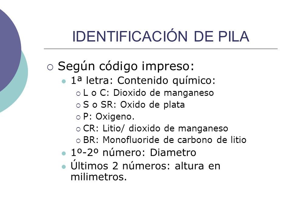 IDENTIFICACIÓN DE PILA