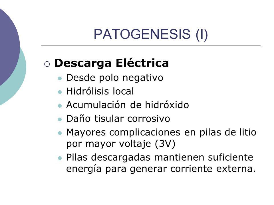 PATOGENESIS (I) Descarga Eléctrica Desde polo negativo