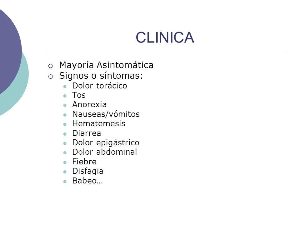 CLINICA Mayoría Asintomática Signos o síntomas: Dolor torácico Tos