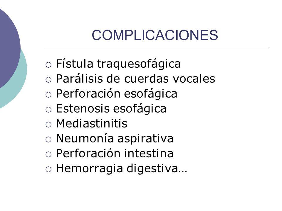 COMPLICACIONES Fístula traquesofágica Parálisis de cuerdas vocales