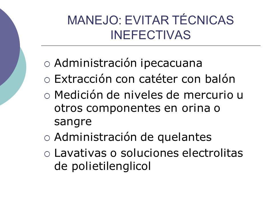 MANEJO: EVITAR TÉCNICAS INEFECTIVAS