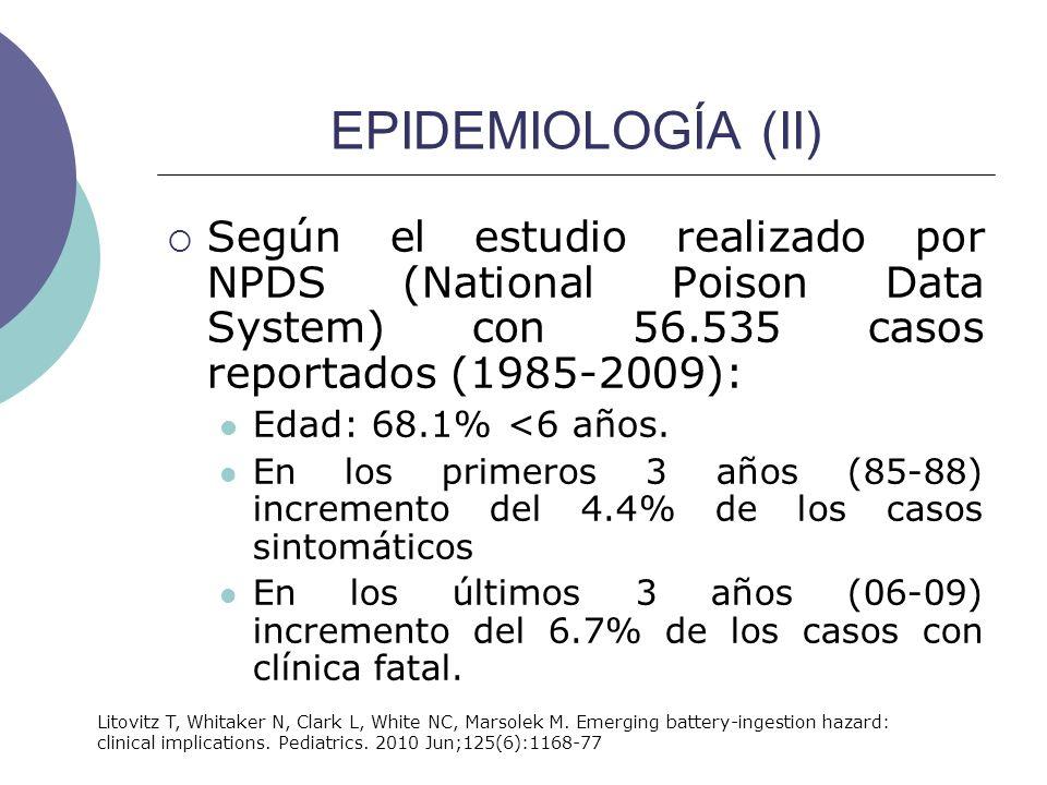 EPIDEMIOLOGÍA (II) Según el estudio realizado por NPDS (National Poison Data System) con 56.535 casos reportados (1985-2009):