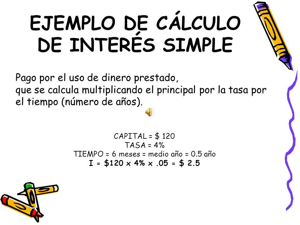 EJEMPLO DE CÁLCULO DE INTERÉS SIMPLE