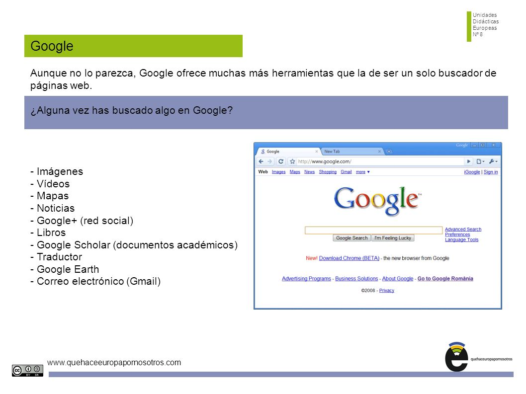 Unidades Didácticas. Europeas. Nº 8. Google.