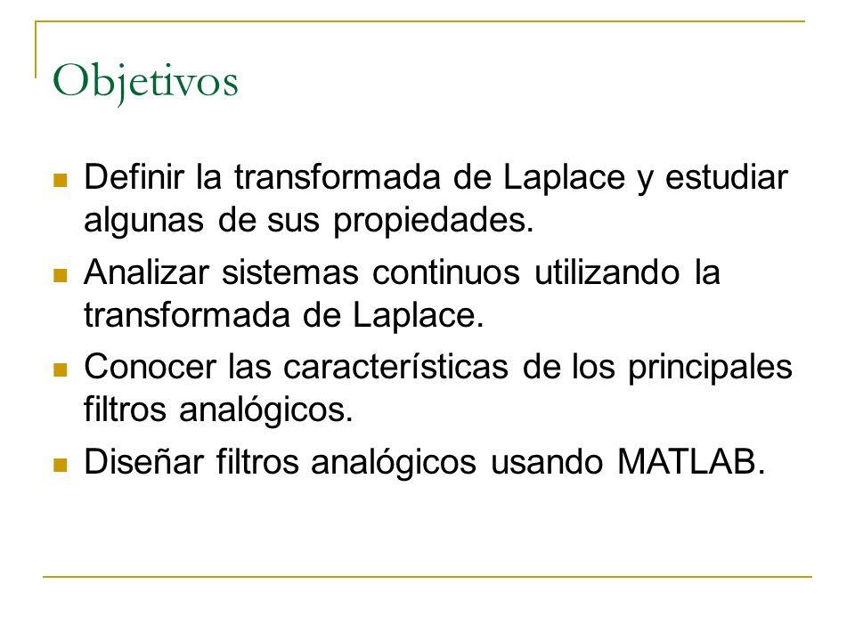 Objetivos Definir la transformada de Laplace y estudiar algunas de sus propiedades.