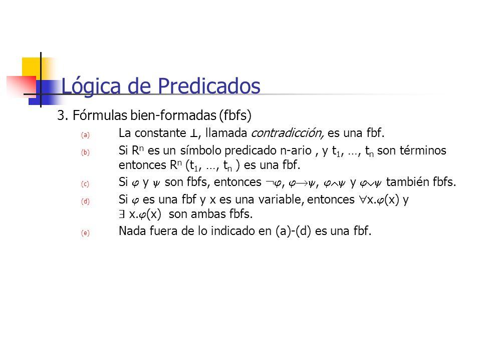 Lógica de Predicados 3. Fórmulas bien-formadas (fbfs)