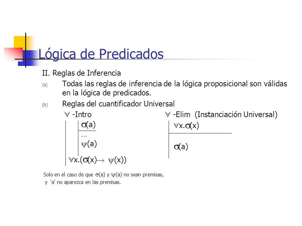 Lógica de Predicados (a) (a) (a) II. Reglas de Inferencia