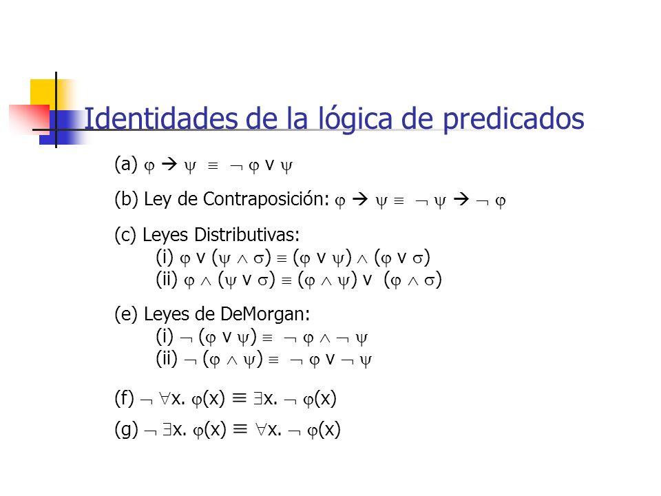 Identidades de la lógica de predicados