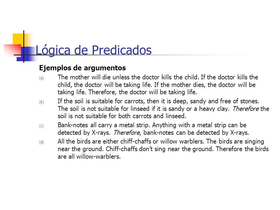 Lógica de Predicados Ejemplos de argumentos
