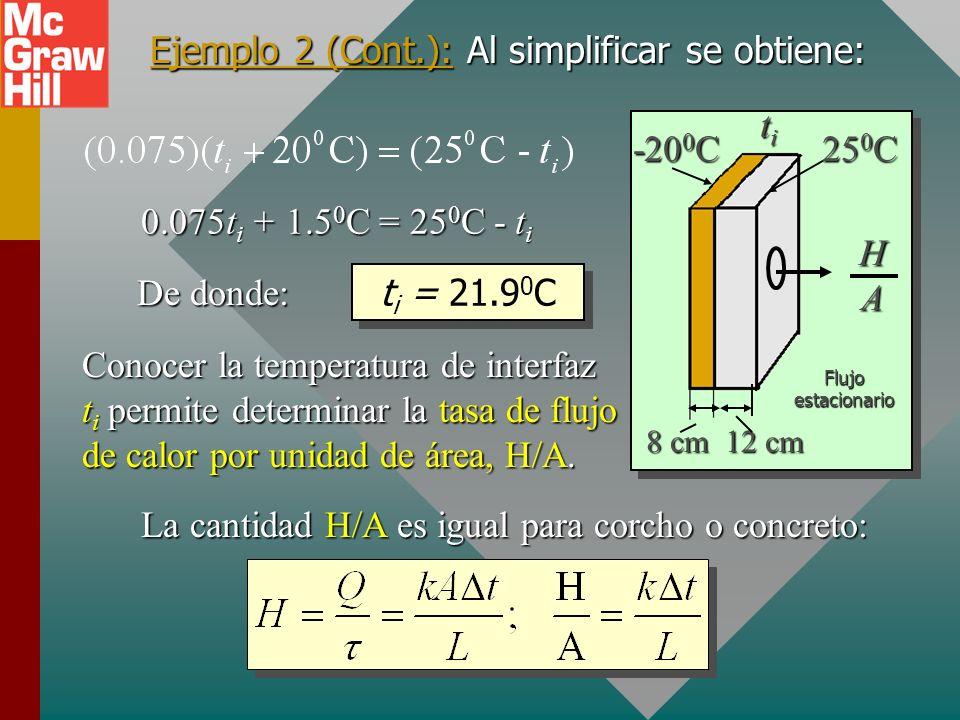 Ejemplo 2 (Cont.): Al simplificar se obtiene: