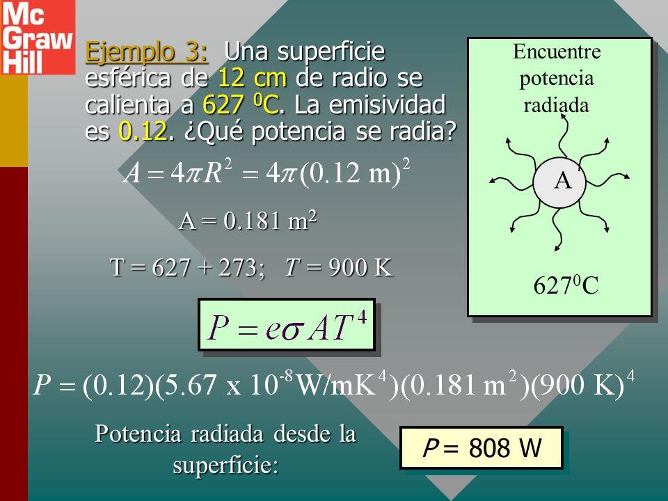 Potencia radiada desde la superficie: P = 808 W