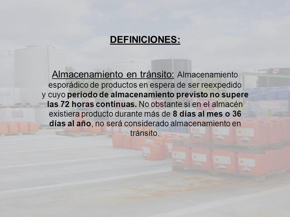 DEFINICIONES: Almacenamiento en tránsito: Almacenamiento esporádico de productos en espera de ser reexpedido y cuyo período de almacenamiento previsto no supere las 72 horas continuas.