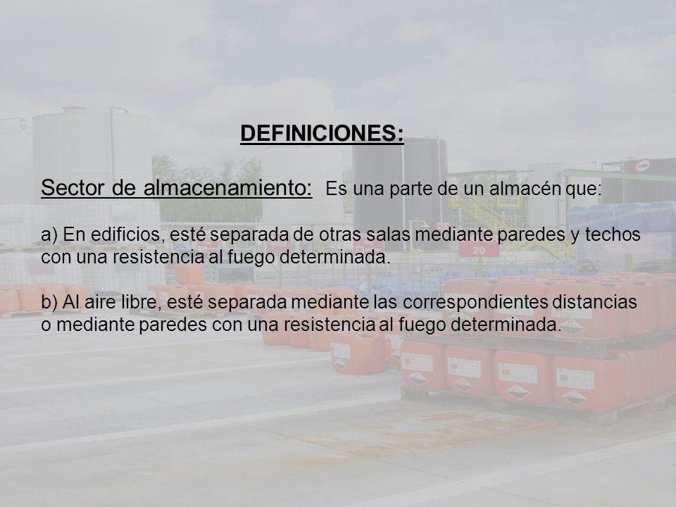 DEFINICIONES: Sector de almacenamiento: Es una parte de un almacén que: a) En edificios, esté separada de otras salas mediante paredes y techos con una resistencia al fuego determinada.
