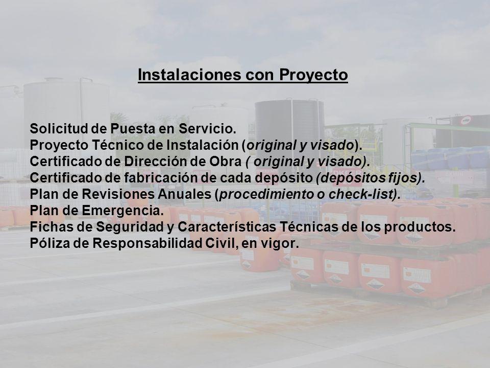 Instalaciones con Proyecto Solicitud de Puesta en Servicio