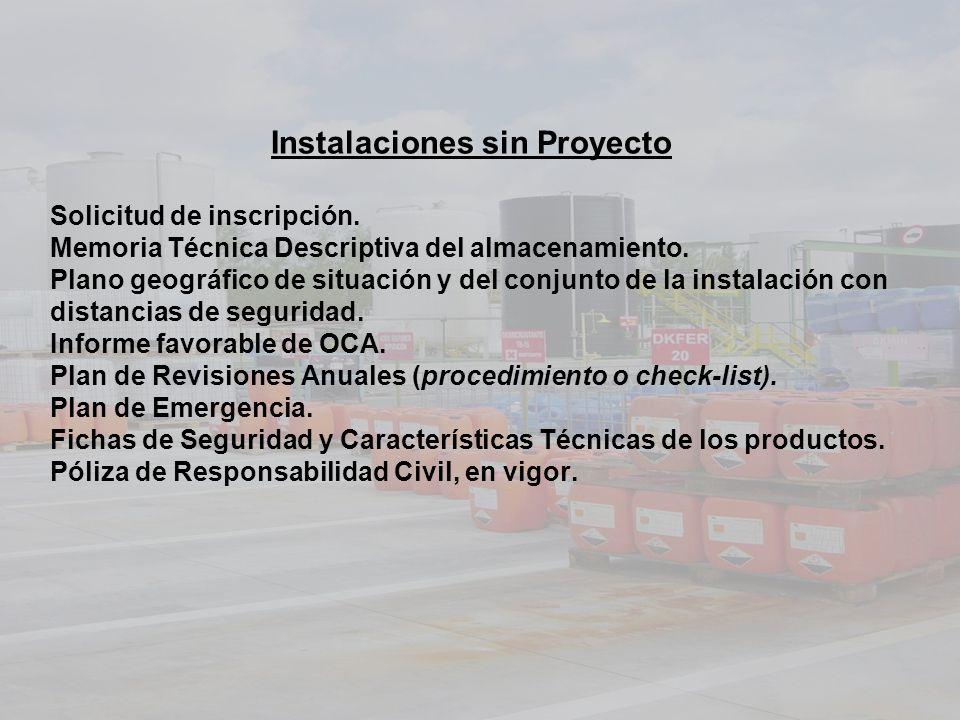 Instalaciones sin Proyecto Solicitud de inscripción